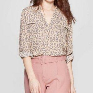 NWT - Leopard Blouse size-L
